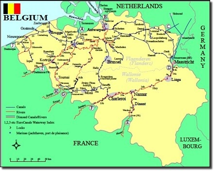 map of belgium waterways